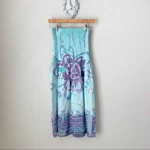 Lapis blue and purple floral sleeveless dress